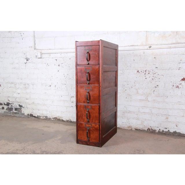 Antique 5-Drawer Wood File Cabinet For Sale - Image 11 of 11