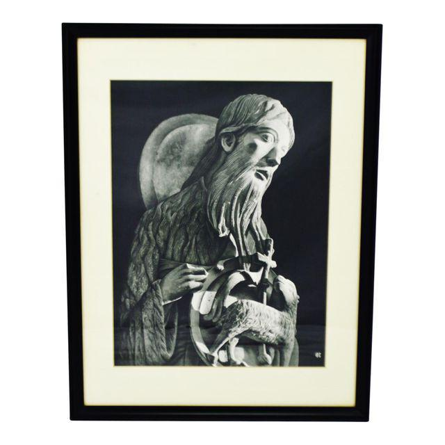 Black Vintage Framed Black and White Religious Print Jesus and Lamb For Sale - Image 8 of 8