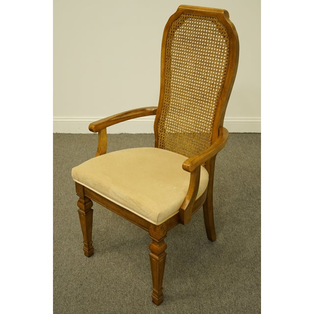 Bernhardt Late 20th Century Bernhardt Furniture Italian Provincial Cane Back Dining Arm Chair For Sale - Image 4 of 11