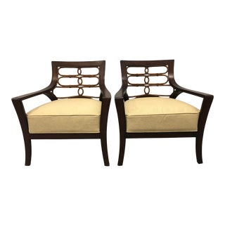 Palecek Transitional Rattan Chairs - a Pair For Sale