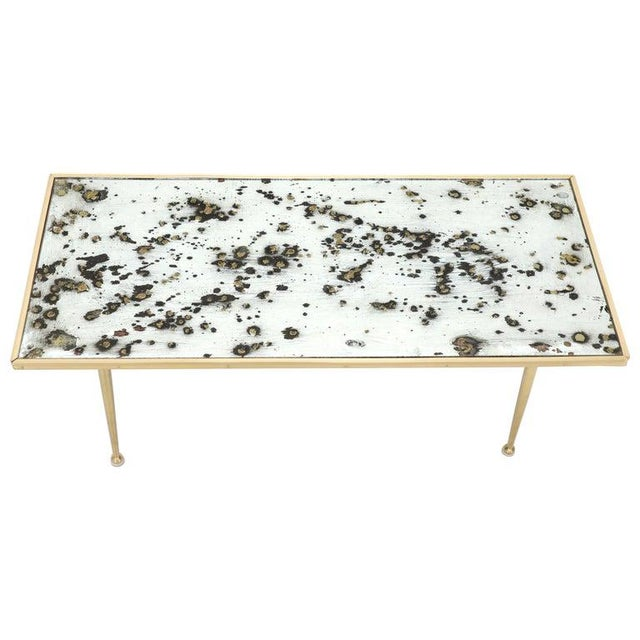 Small Italian Rectangular Coffee Table on Brass Legs Mirrored Top For Sale - Image 10 of 10