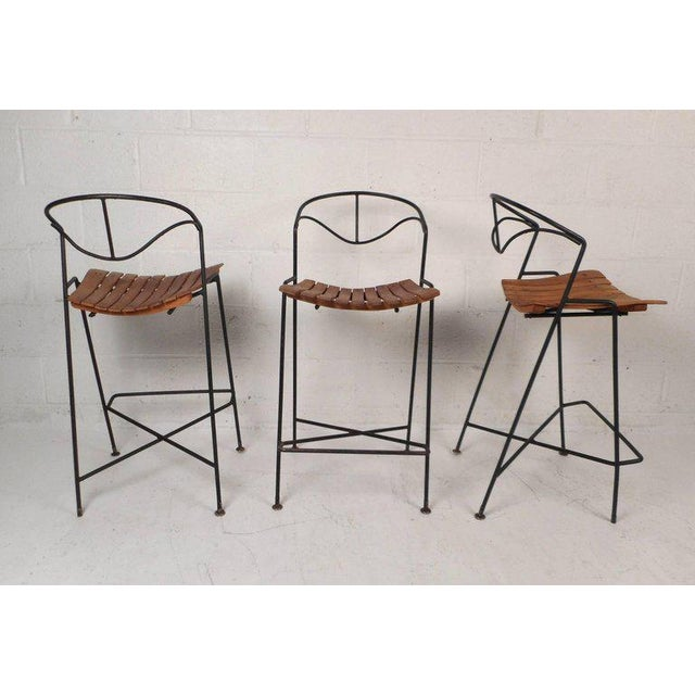 Wrought Iron Bar Stools by Arthur Umanoff - Set of 3 For Sale - Image 10 of 10