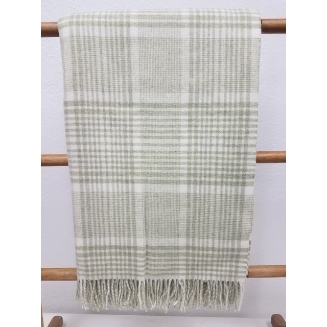 Merino Wool Throw Green Squares - Made in England For Sale - Image 9 of 9