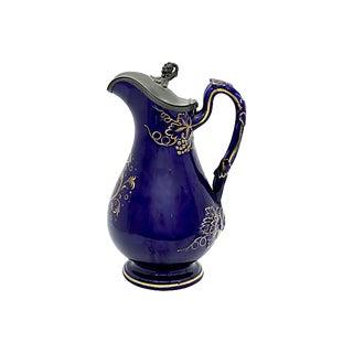 Antique Cobalt Wine Carafe W/ Pewter Lid For Sale