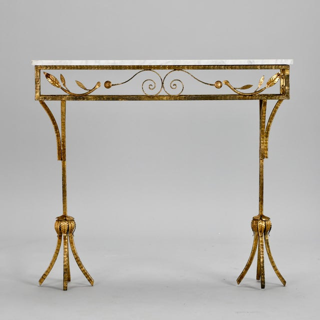 French French Gilt Iron Wall Hung Console with Marble Top For Sale - Image 3 of 11