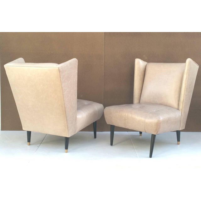 Mid-Century Modern 1950s Leather Club Chairs - A Pair For Sale - Image 3 of 10