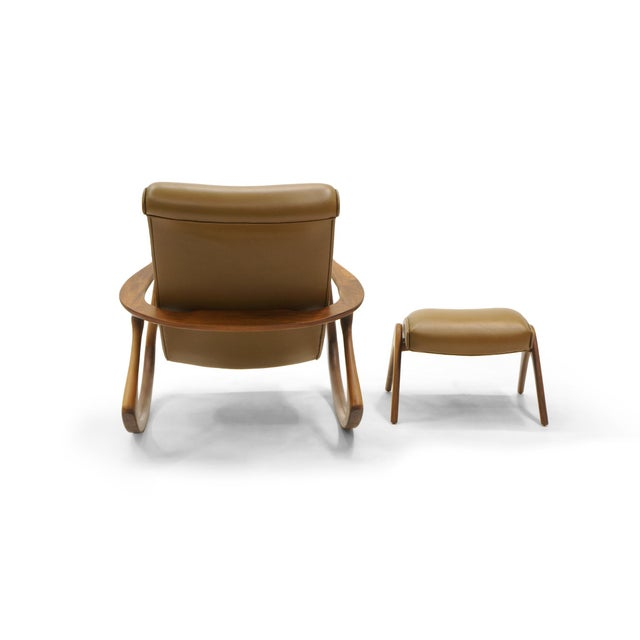 Vladimir Kagan Contour Rocker with Ottoman, Holly Hunt Leather, Excellent - Image 7 of 11