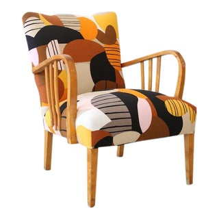 1940s Deco Vintage Swedish Armchair in Marimekko Britta Maj by Liselotte Watkins For Sale