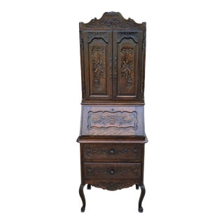 Antique French Bookcase Cabinet Secretary Desk For Sale