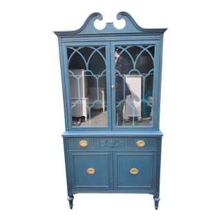 Vintage China Cabinet Painted Aubusson Blue and Distressed For Sale