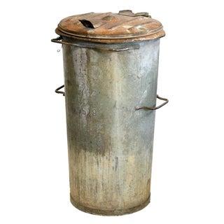 Vintage Hinged Lid Rubbish Bin For Sale