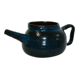 Late 20th Century Vintage Peacock Blue Pottery Pot For Sale