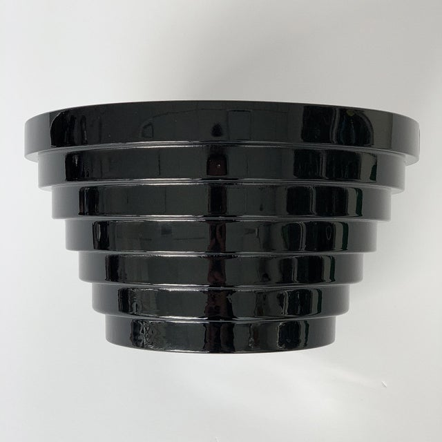 Black Modernist Italian Stepped Black Glass Bowl For Sale - Image 8 of 9