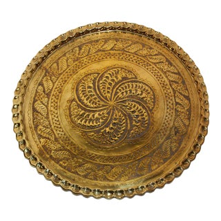 Middle Eastern Moorish Antique Round Brass Tray For Sale