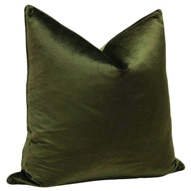 "Modern 22"" Italian Silk Velvet Pillows in Olive - a Pair For Sale - Image 3 of 3"