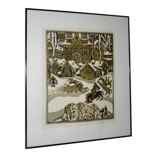 "Vintage ""Russian Village Winter"" Woodblock Print For Sale"