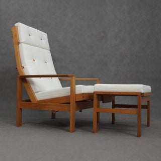 1960s Danish Modern Borge Mogensen Reclining Armchair With Footstool - 2 Pieces Preview