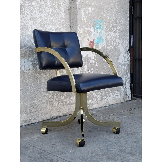 Milo Baughman Navy Office Chair For Sale In Los Angeles - Image 6 of 6