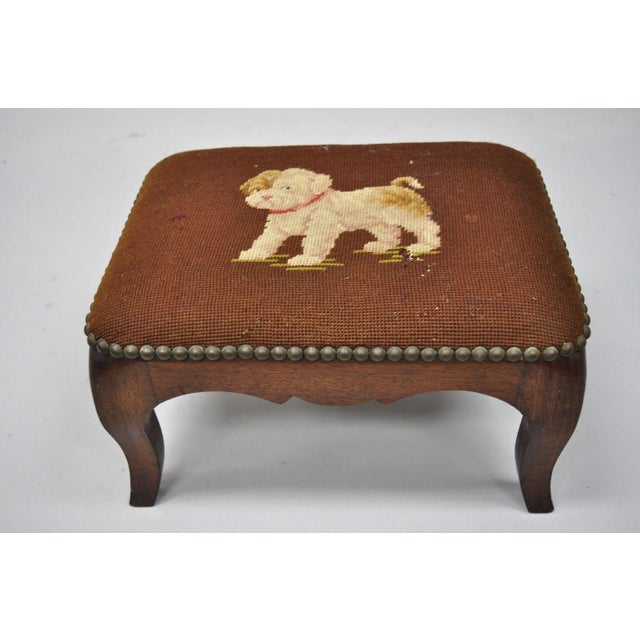 French Provincial Antique Victorian Small Puppy Dog Needlepoint Petite Stool For Sale - Image 3 of 10