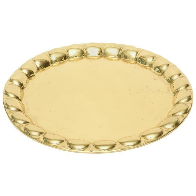 Hand-Hammered Circular Polished Brass Monumental Serving/Barware Tray For Sale - Image 10 of 10
