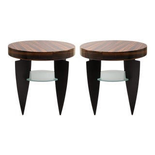 Memphis Style Zebrawood, Glass and Steel Side Tables by Pace - A Pair For Sale