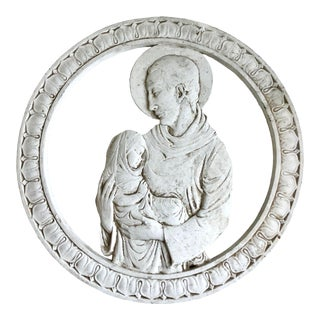 Late 19th Century Saint With the Infant Plaster Wall Decor For Sale