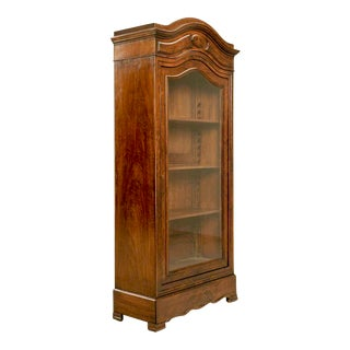 Opulent Antique French Glazed Crotch Mahogany Cabinet w/Hidden Drawer For Sale