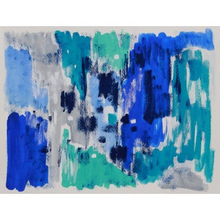 Abstract Blue Beach Painting by Cleo