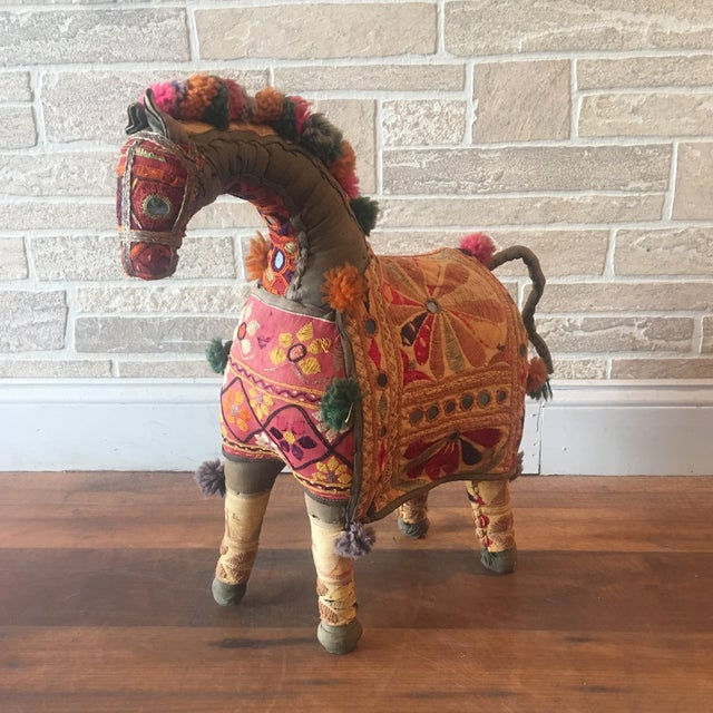 An absolutely stunning vintage fiber art sculpture of a horse from the Rajasthan state of India. This stuffed horse...