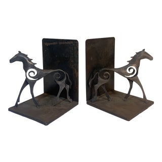 Modernist Figural Horse Wrought Metal Bookends - a Pair For Sale