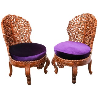 Anglo-Raj Carved Wood Side Lounge Chairs - a Pair For Sale