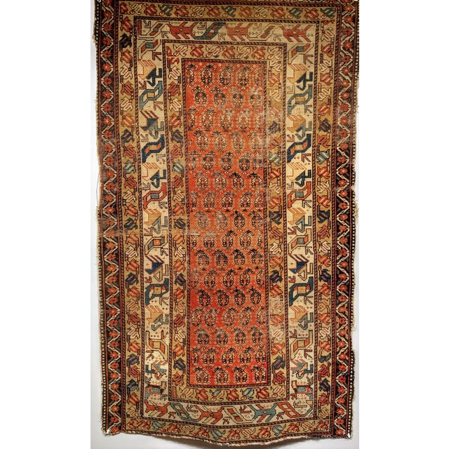 Small Kazak with the allover paisley design in the field. There are multiple borders with beautiful colors.
