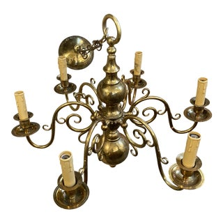 Mid 20th Century Vintage Brass Chandelier For Sale