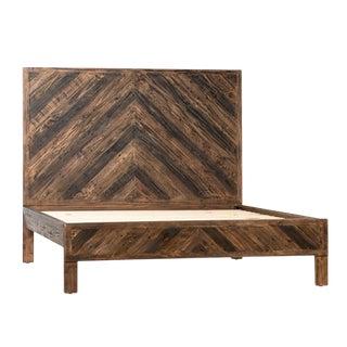 Rustic Modern Herringbone Eastern King Bed For Sale