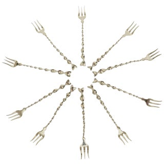 "Hallmarked Sterling Silver ""Twist and Ball"" Cocktail or Serving Forks - Set of 10 For Sale"