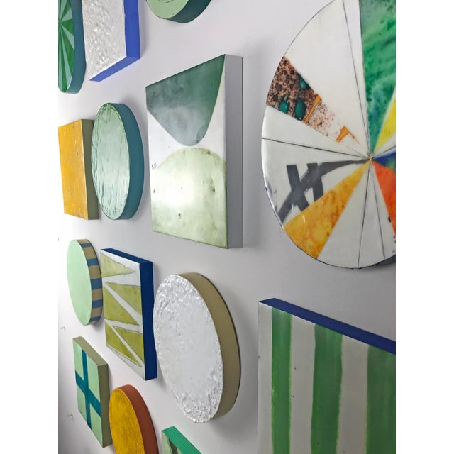 """Encaustic Collage Installation by Gina Cochran """"Grasshopper"""" - 16 Pieces For Sale - Image 4 of 9"""