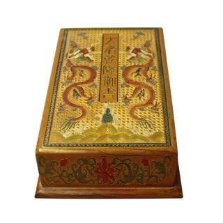 Chinese Golden Orange Yellow Dragon Graphic Rectangular Box For Sale