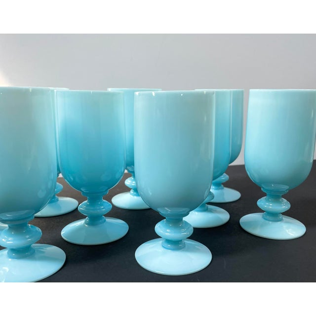 Early 20th Century 1930s Portieux Vallerysthal French Blue Opaline Cocktail / Low Stem Wine Glasses - Set of 9 For Sale - Image 5 of 13