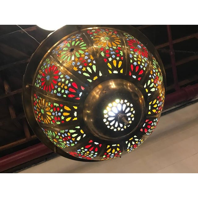 Tiffany Fashioned Hand-Hammered Brass and Colored Glass Light Fixture - Image 3 of 8