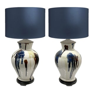 1950s Paint Drip Ceramic Lamps — a Pair For Sale
