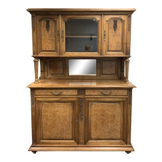 Early-20th Century French 3-Piece Wood + Glass Hutch For Sale