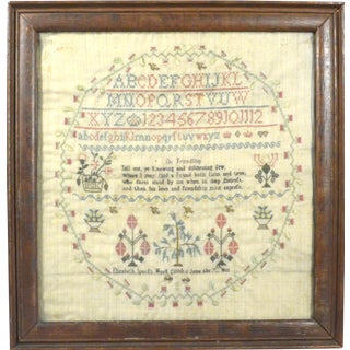 School Girl Needlework Linen Sampler, Made by Elizabeth Spark, Finished June 7, 1803