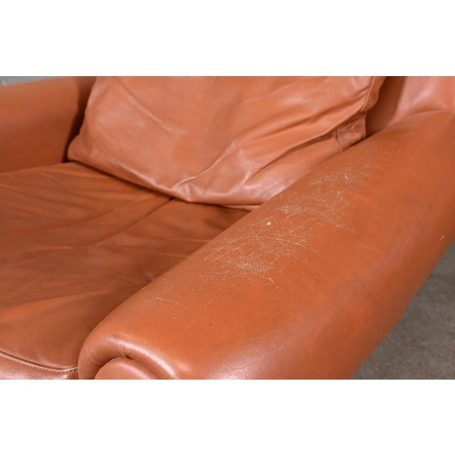 Danish Modern Danish High Back Leather Lounge Chair For Sale - Image 3 of 6