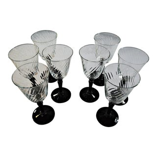 Onyx & Clear Crystal Glasses - Set of 8
