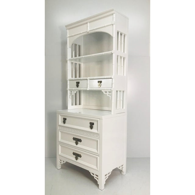 Mid-Century Modern 1970s Shangri La Faux Bamboo Storage Bookcase For Sale - Image 3 of 9