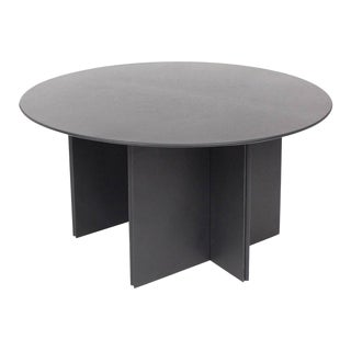 Round Dining Table in Black Leather for Durlet, 1970s For Sale