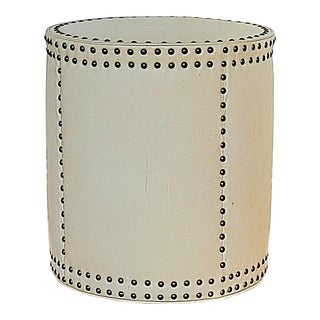 Lee Industries Leather Drum Ottoman For Sale