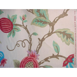 Lee Jofa Mandovi Ruby Floral Printed Linen Upholstery Fabric- 9-5/8 Yards For Sale