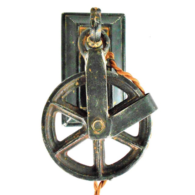 Industrial Factory Wheel Wall Sconce - Image 3 of 9