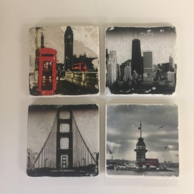 4x4 coasters. Pictures are transferred to botticino marble and carara white, tumbled marble. Back is covered with cork....
